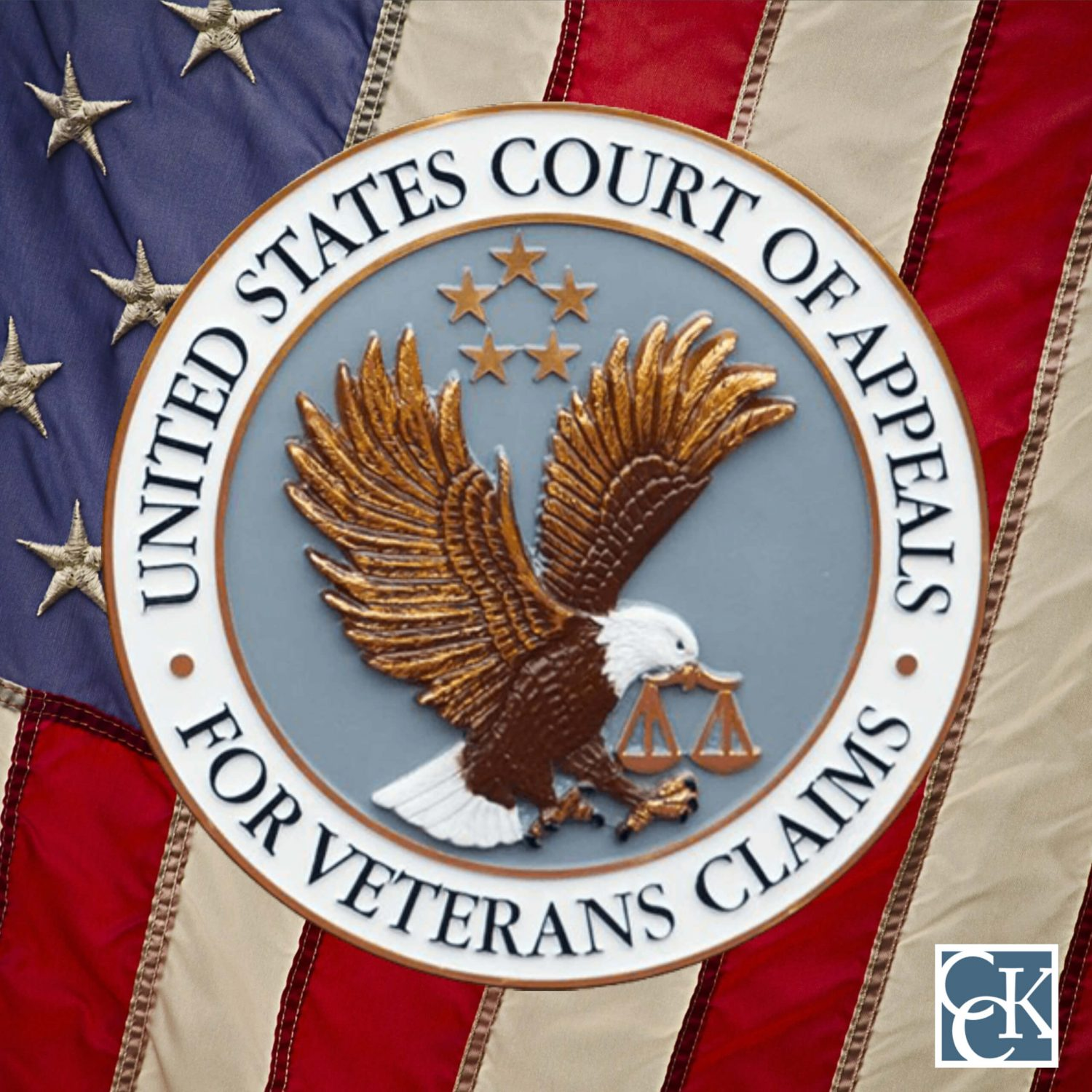 Court of Appeals for Veterans Claims Seal against American Flag Background with CCK logo
