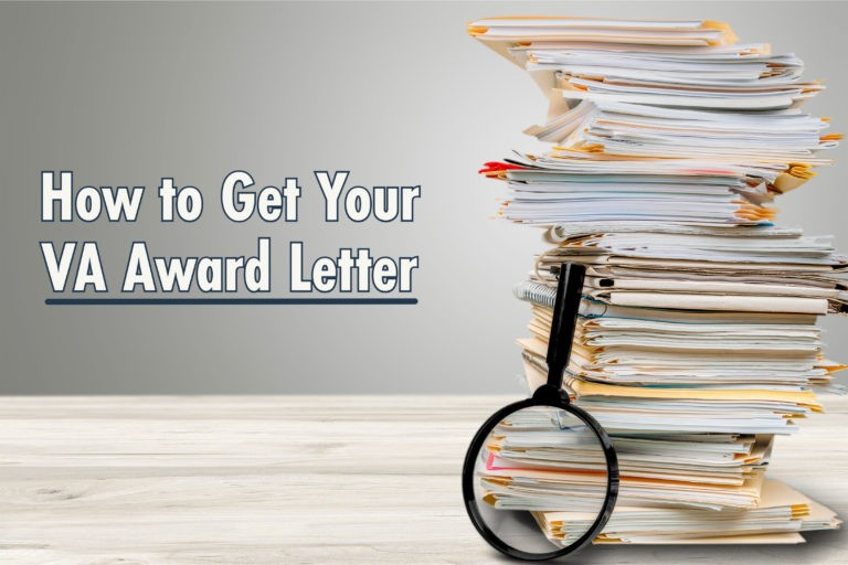 how to get a copy of va award letter. Files stacked with magnifying glass leaning on the stack.